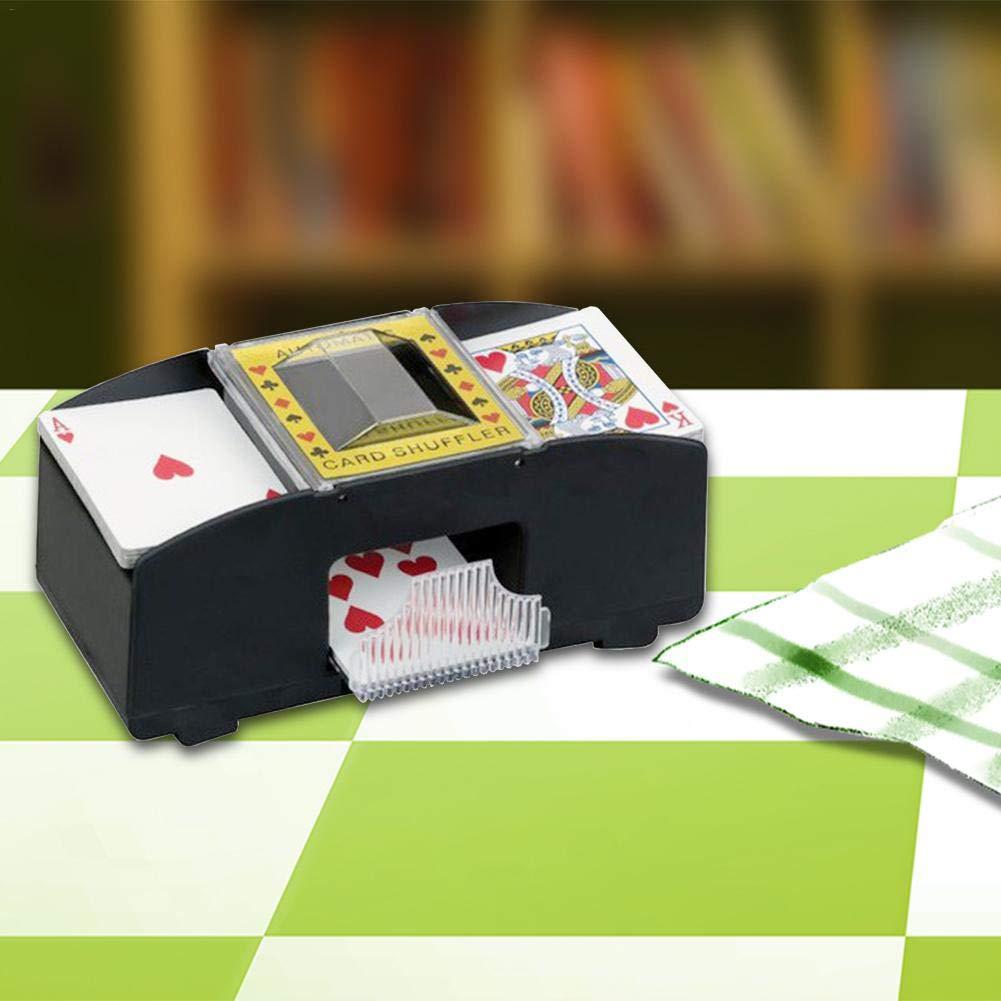 Elektrischer Automatischer Kartenmischer, Batterie Betriebener Kartensortierer Aus Holz mit 2 Decks, fü r Poker, Rummy, Brettspiel Poker farmer-W