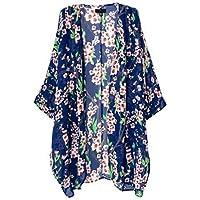 Kimono suelto largo con estampado floral de estilo retro para mujer, niña, chamarra, abrigo, cárdigan, blusas