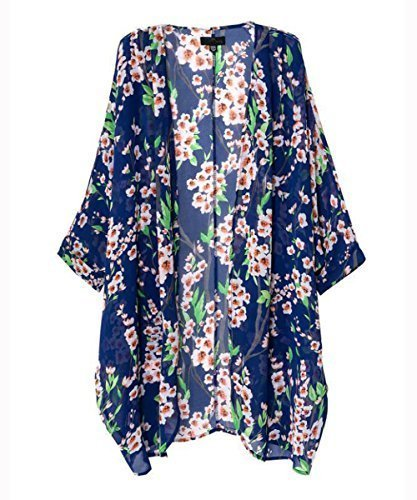 Vintage Women Girls Floral Print Long Loose Kimono Jacket Coat Cardigan Blouses (Small, Blue) (Chiffon Vintage)