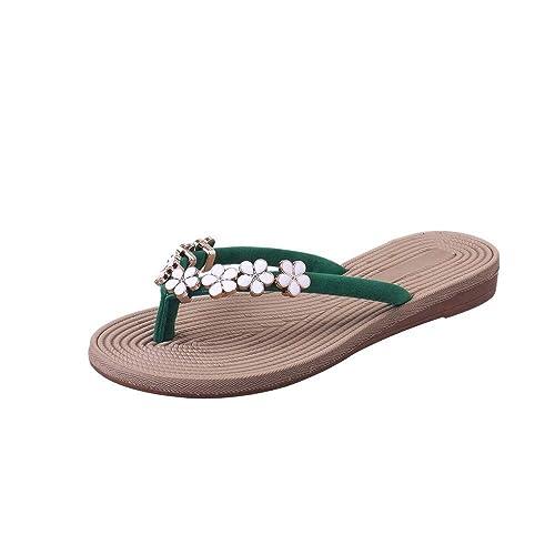 Sillor Sommer Flach Flip Flops Damen Casual Blumendekoration Pantolette mit Kork Sandalen Slip On Strand Zehentrenner Sandalen