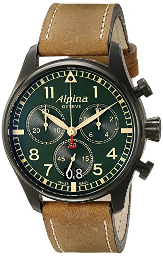 Alpina Men's AL-372GR4FBS6 Startimer Pilot Chronograph Big Date Analog Display Swiss Quartz Brown Watch
