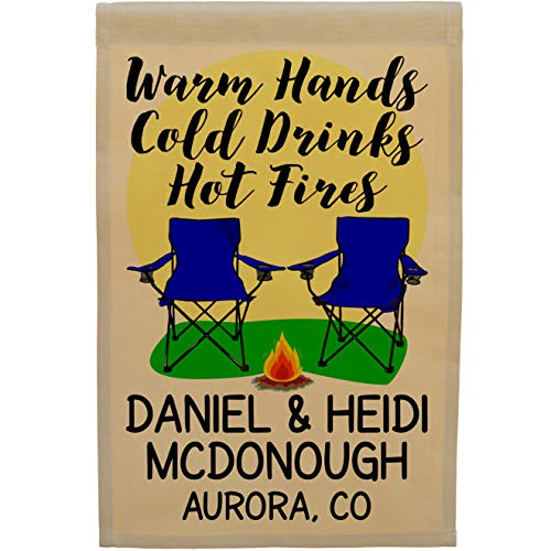 Warm Hands Cold Drinks Hot Fires, Campsite Flag, Camper Decor, Personalized Just for You, Tan Fabric (Royal Blue) ()