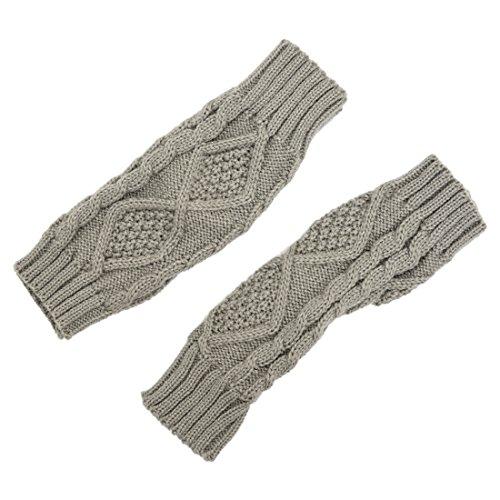 手袋,SODIAL(R)女性のシャギー フェイクファー ハンズ/LEGウォーマーアンクルブーツカバー手袋 - ライトグレー