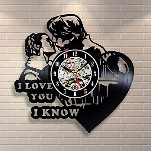 Kovides Kiss Art Love Unique Gift Idea for Fan Decorations for Party Star Wars Wall Clock Vintage Wall Clock Star Wars LP Clock Film Movie Star Wars Art Retro Vinyl Record Clock in Love -
