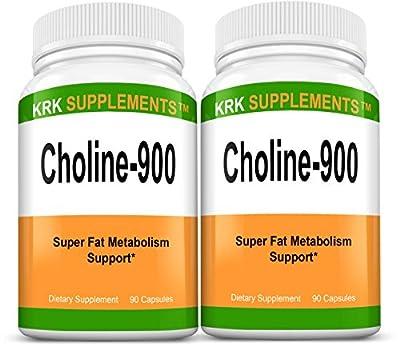 2 Bottles Choline Bitartrate 900mg Per Serving 180 Total Capsules KRK Supplements
