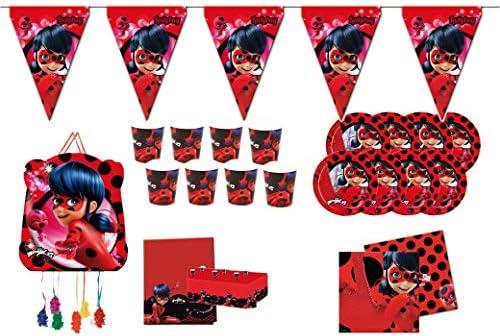 ALMACENESADAN 0760, Pack Fiesta y cumpleaños Lady Bug; 1 piñata Lady Bug; 1 banderin (3metros), 1 Mantel plástico 120x180 cm, 20 servilletas, 8 Platos 23 cm, 8 Vasos: Amazon.es: Juguetes y juegos