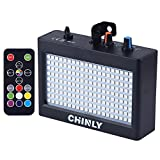 CHINLY LED Strobe Light Stage Lighting Portable 35W 180leds RGB Remote Control Sound Control Auto Operation Strobe Speed Adjustable for Disco Bar Wedding Party KTV Concert