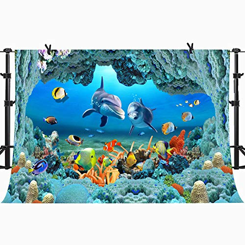 (PHMOJEN Underwater World Backdrop Coral Dolphins Fishes Background for Photography Kids Theme Birthday Party Decoration Banner Studio Props 10x7ft GYPH307)