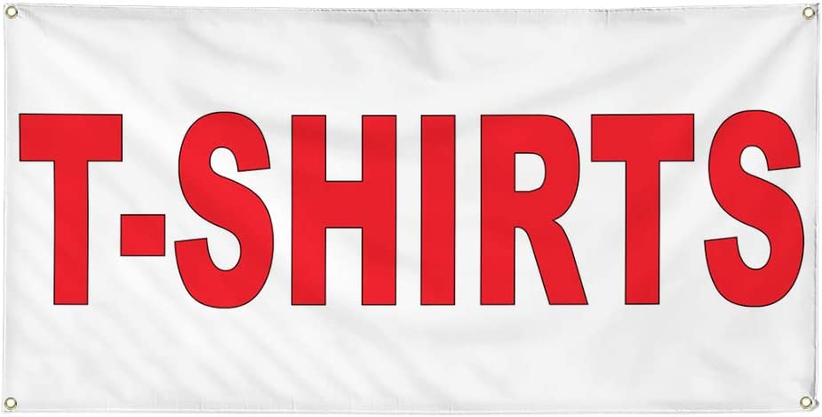 Vinyl Banner Multiple Sizes T-Shirts Red C Retail Outdoor Weatherproof Industrial Yard Signs 10 Grommets 60x144Inches