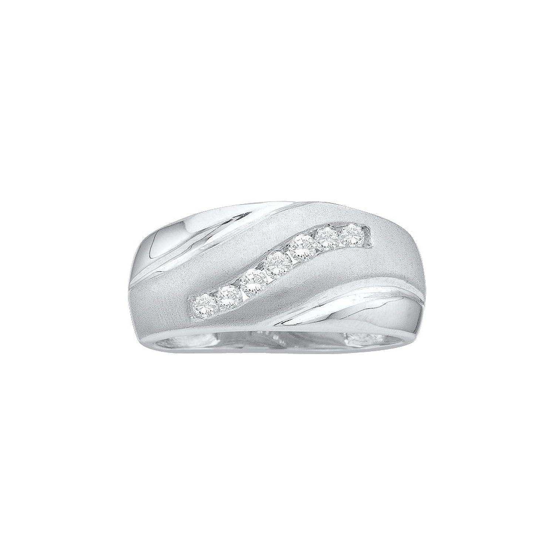 14kt White Gold Mens Round Diamond Single Row Brushed Wedding Band Ring 1/4 Cttw