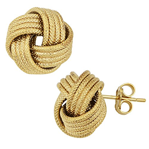 Yellow Gold Over Sterling Silver Textured Love Knot Earrings