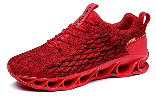 TSIODFO Youth Boys Sneakers Size 7 for Men Flyknit mesh Breathable Comfort Springblade Athletic Walking Shoes Man Gym Workout Trail Sports Tennis Shoes (A050-Red-40)