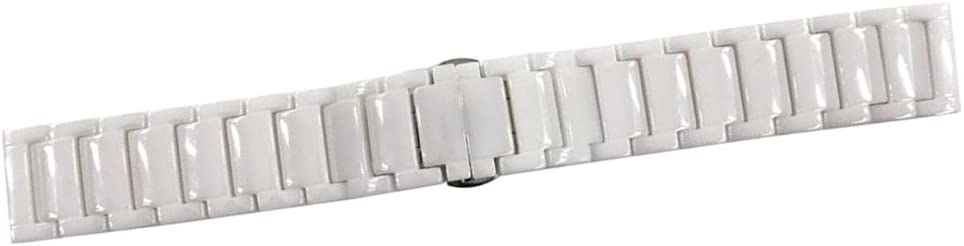 H HILABEE Correa De Reloj Ceramic Hombre Mujer Pulsera Banda Despliegue Broche 22mm - Blanco