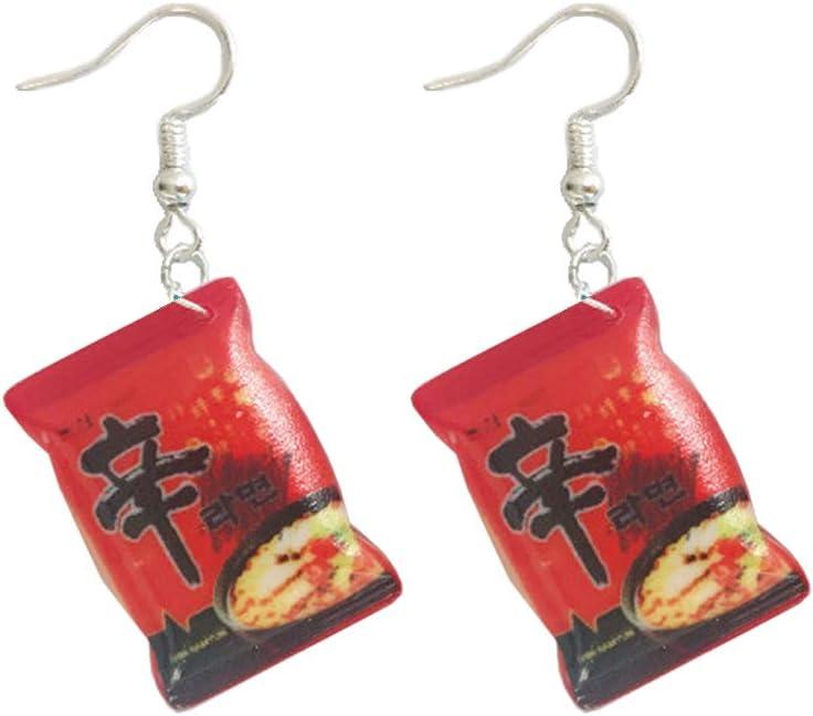 KOFUN Earrings, Funny Small Simulation Instant Noodle Chili Food Drop Earrings Fashion Jewelry
