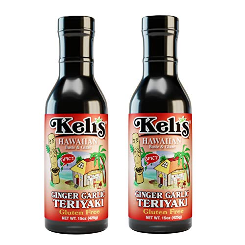 Keli's Spicy Ginger Garlic Teriyaki Sauce. Low Sodium, Gluten Free & Vegan Ginger Garlic Teriyaki Glaze and BBQ Sauce. Hot and Spicy Lover Approved! Made with Gluten Free Soy Sauce -