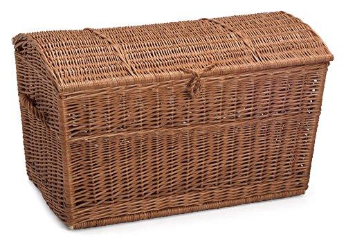 Lidded Wicker Chest Medium Storage Basket (Chest Storage Uk Wicker)