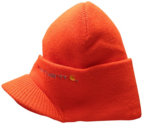 Carhartt Men's Knit Hat with Visor, Brite Orange, One Size