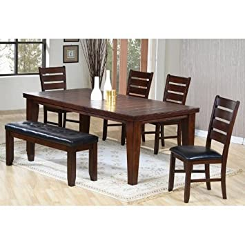 6pc Dining Table U0026 Chairs Set With Ladder Back Dark Oak Finish
