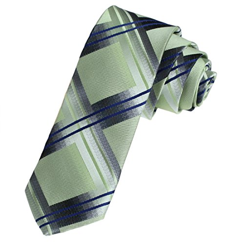 Dan Smith DAE7C02B Light Green Marriage Presents Microfiber Skinny Tie Checkered Discount For Husband