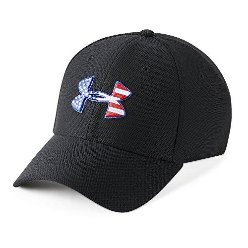 Under Armour Mens Freedom Blitzing Cap, Black (001)/Red, Medium/Large -