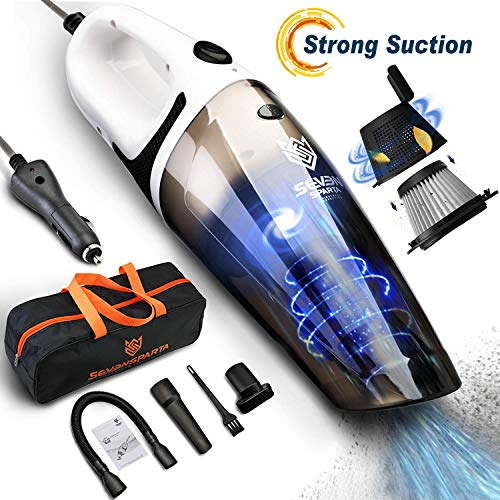 Car Vacuum Cleaner, 5000PA Cyclonic High Powerful Wet & Dry Suction Stainless Steel Double Filtration with 16.4FT(5M) Stronger Power Corded Portable Car Vacuum.