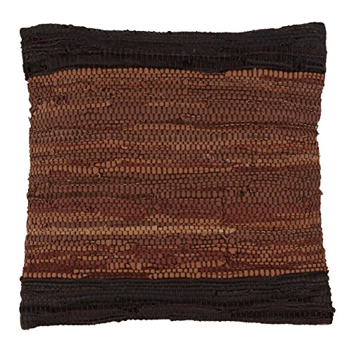 SARO LIFESTYLE Collection Chindi Design Throw Pillow in Two-Tone Leather with Down Filling, 18 , Coffee