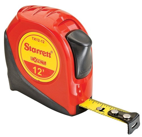 Starrett Tape Measure - Starrett Exact KTX12-12-N ABS Plastic Case Red Measuring Pocket Tape, English Graduation Style, 12' Length, 0.5