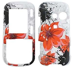 CELL PHONE CASE COVER FOR LG RUMOR 2 II / COSMOS 1 LX265 VN250 RED HIBISCUS SPLASHES ON WHITE