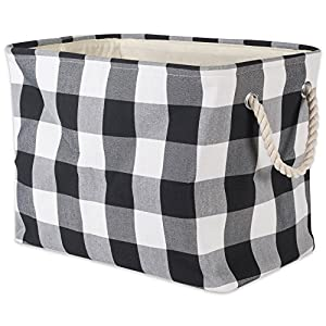 DII Collapsible Polyester Storage 100% cotton Buffalo check throw