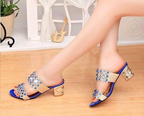 Aperti Era Alta 36 Moda Sandali Aperti Alti Tallone Diamanti 35 Tacchi Highxe In Di La Blue a8q7Pnw