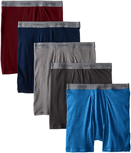 Long Print Underwear Cotton (Hanes Ultimate Men's 5-Pack Dyed Boxer Brief - Colors May Vary, Assorted Colors, Large)
