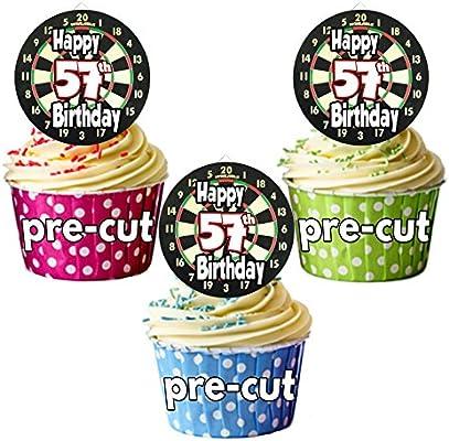 PRECUT: Dardos de diana temática – 57 cumpleaños – adornos comestibles para cupcakes/decoraciones de tartas (Pack de 12): Amazon.es: Hogar