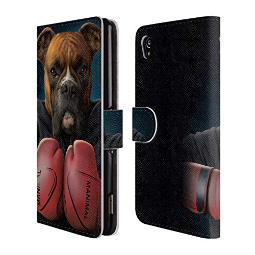 Official Vincent HIE Boxer Canidae Leather Book Wallet Case Cover Compatible for Sony Xperia M4 Aqua