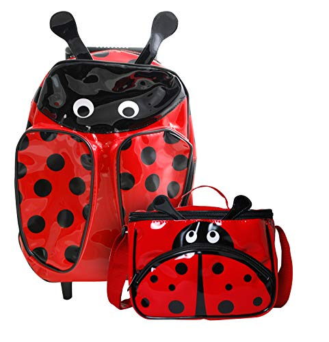 Ladybug Wheeled Rolling Backpack and Lunch Bag Summer Camp ()