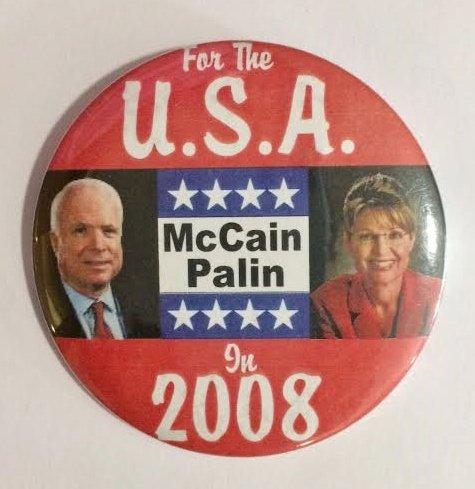 Palin 2008 Political Pin Back Button