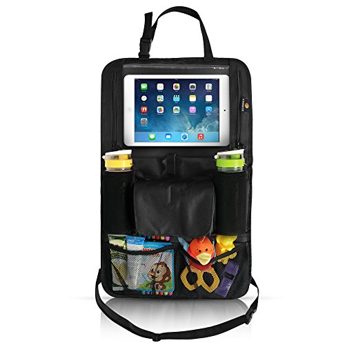 Kimbros Backseat Organizer with Tablet Holder for any age, (Holds IPAD PRO 10.5), Multiple Pockets, Side Double zipper for cables, Extra Long Harness with buckle for any size car, Baby wipe pouch