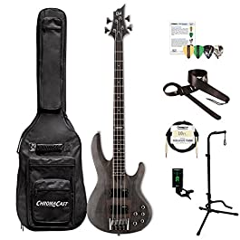 ESP LB204SMSTBLKS-KIT-1 B Series B-204SM 4-String Electric Bass Guitar, See Thru Black Satin