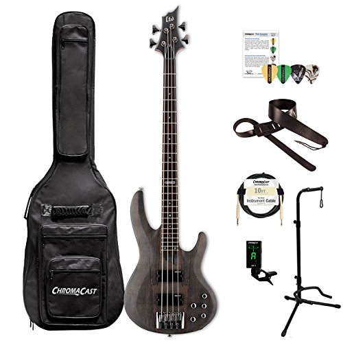 ESP LB204SMSTBLKS-KIT-1 B Series B-204SM 4-String Electric Bass Guitar, See Thru Black Satin by ESP