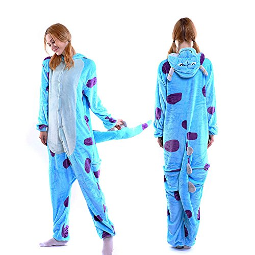 MGOGO Adult Kigurumi Pajamas-Unisex Sulley Onesie Halloween Animal Costume Winter Sleeping Wear Cosplay(M)