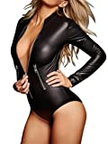 Bnice Womens Deep V Sex Zip Front Bodycon Leather Club Jumpsuits