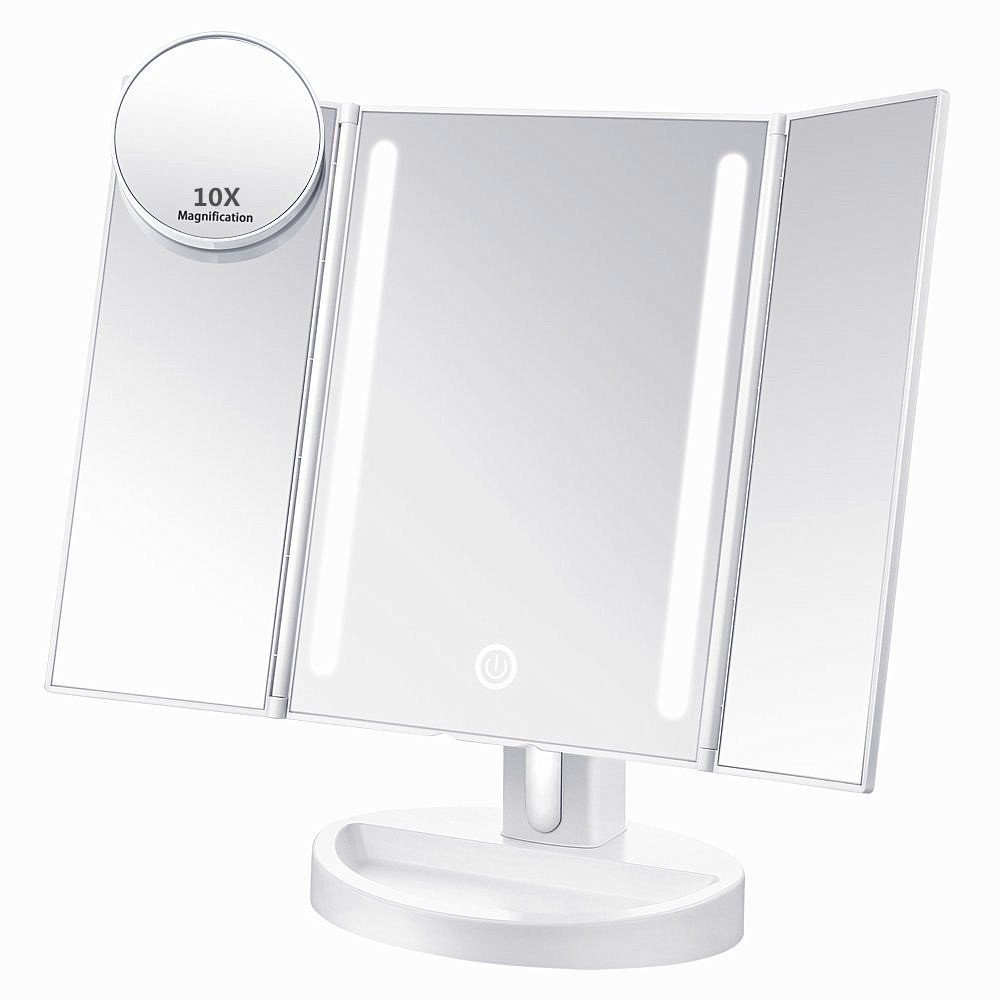 ASSIS Led Lighted Makeup Mirror with 10X Magnifying, Natural LED, Touch Screen and Auto Off Dual Power Supply, 180° Adjustable, Portable Compact Travel Trifold Vanity Mirror (White) 180° Adjustable