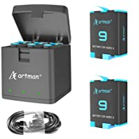 Artman 2-Pack Replacement Batteries and 3-Channel USB Storage Quick Charger for Hero 9 Black, Fully Compatible with Hero…