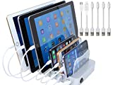 Hercules Tuff Charging Station | 6 Ports | Phone Dock Stand | Compatible Samsung, iPhone, Ipad | Cables Included (Silver, 6 Port - 4 Apple, 1 MicroUSB, 1 TypeC Cable)