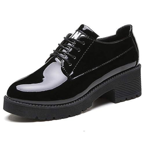 Las Mujeres BritáNicas Oxfords Brogue Zapatos OtoñO Charol Lace Up Plataforma Pisos Pisos Tacones De CuñA Calzado: Amazon.es: Zapatos y complementos