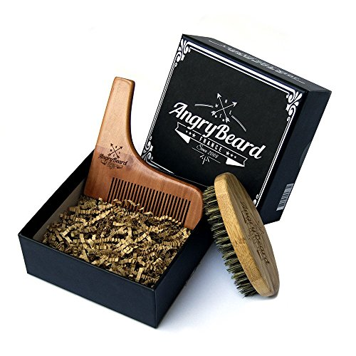 Mens Beard Brush set and Beard Shaper - Wooden Beard Brush & Beard Shaping tool - Sandal Wood Beard brush kit with beard stencil for Styling, Shaping & Grooming Mustache and Beard Comb kit