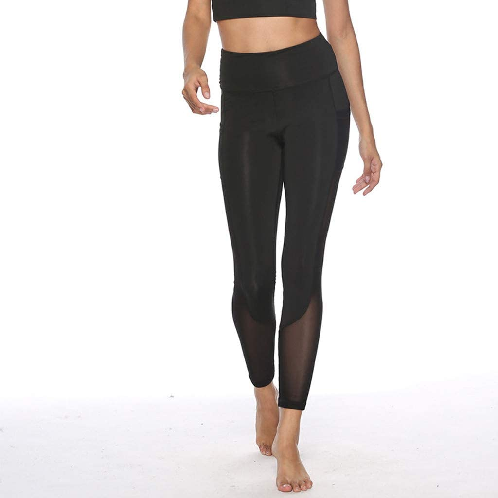 Women Yoga Pants High-Waist with Pockets Fitness Running Stitching Nine-Minute Pants
