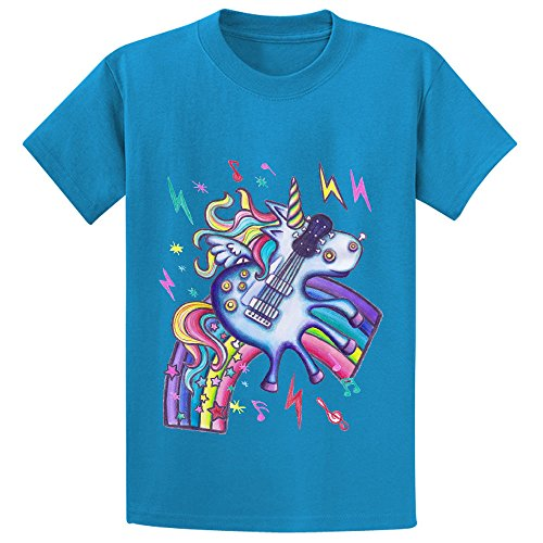 Left Handed Electric Guitar Unicorn White Noise Teen Short Sleeve Shirts Blue
