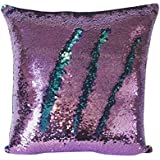Livedeal Reversible Sequins Mermaid Pillow Cases 40*40cm Purple and Blue
