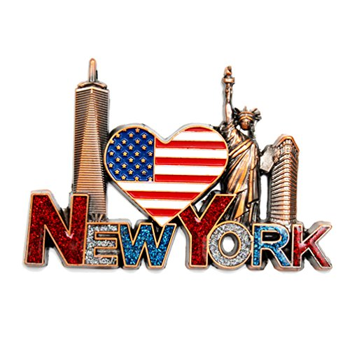 NY Magnet Heart Shaped US Flag New York Souvenir - US Flag,Statue of Liberty,Flatiron, NYC Magnet Metal (Pack 1) (Refrigerator York New Magnet)