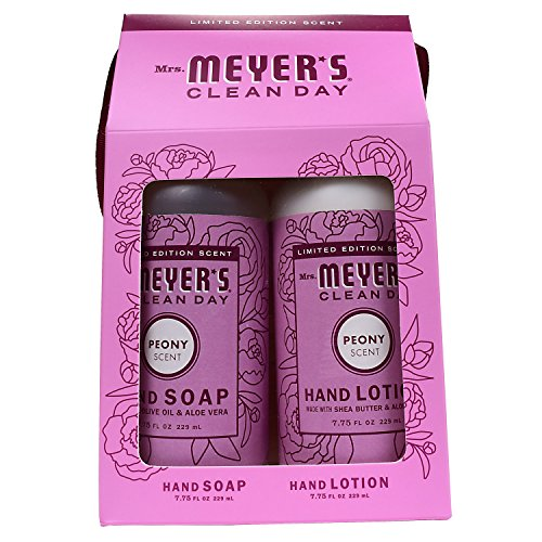 Mrs. Meyer's Clean Day Hand Gift Set, Peony: Hand Soap (7.75 oz) + Hand Lotion (7.75 oz) (Body Scented Lotion Peony)